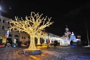 MOSCOW -  JANUARY 09, 2018: Christmas and New Year 2019 decorations in Zaryadye park in Moscow. Popular landmark. Color photo.