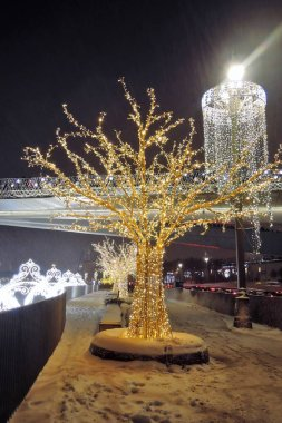 MOSCOW -  JANUARY 03, 2019: Christmas and New Year 2019 decorations in Zaryadye park in Moscow. Popular landmark. Color photo.