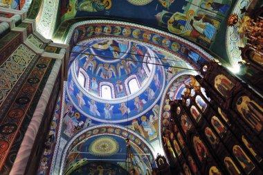NIZHNIY NOVGOROD, RUSSIA - March 09, 2019: Architecture of Nizhny Novgorod, Russia. Saint Alexander Nevsky cathedral interior. Popular landmark.