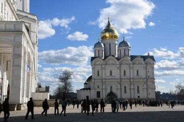MOSCOW - MARCH 25, 2019: Tourists in Moscow Kremlin. Popular touristic landmark. UNESCO World Heritage SIte.