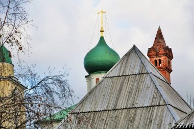 Moscow city historic center. Old churches in Zaryadye park.