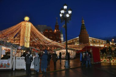 MOSCOW - MARCH 3, 2019: Shrovetide Pancake week decorations on Mannezhnaya Square in Moscow, popular landmark in Moscow.