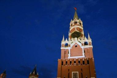 Architecture of Moscow Kremlin. Spasskaya clock tower at night.