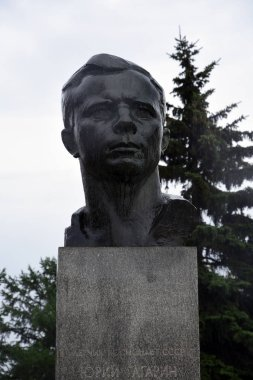 MOSCOW - JUNE 30, 2019: Monument to Yuri Gagarin, first cosmonaut. Popular landmark.