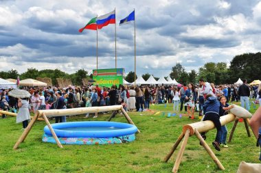 MOSCOW - JULY 06, 2019: Sabantui celebration in Moscow, in Kolomenskoye park. Sabantui is a national Tatar and Bashkir festival, celebration of end of spring field work.