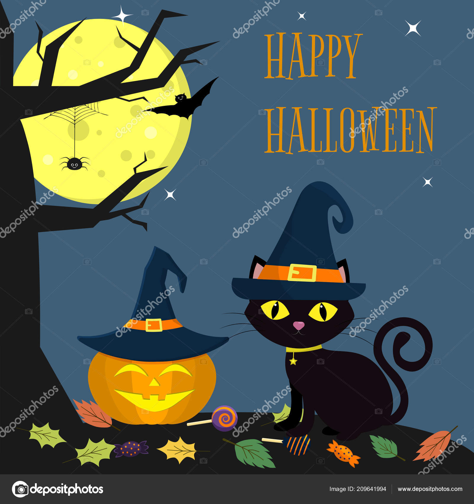 3de34bdc The Halloween cat witch hat sits next to the pumpkin in the hat. Nearby a  tree, a spider, a full moon at night. Sweets and leaves, volatile vampires  and ...