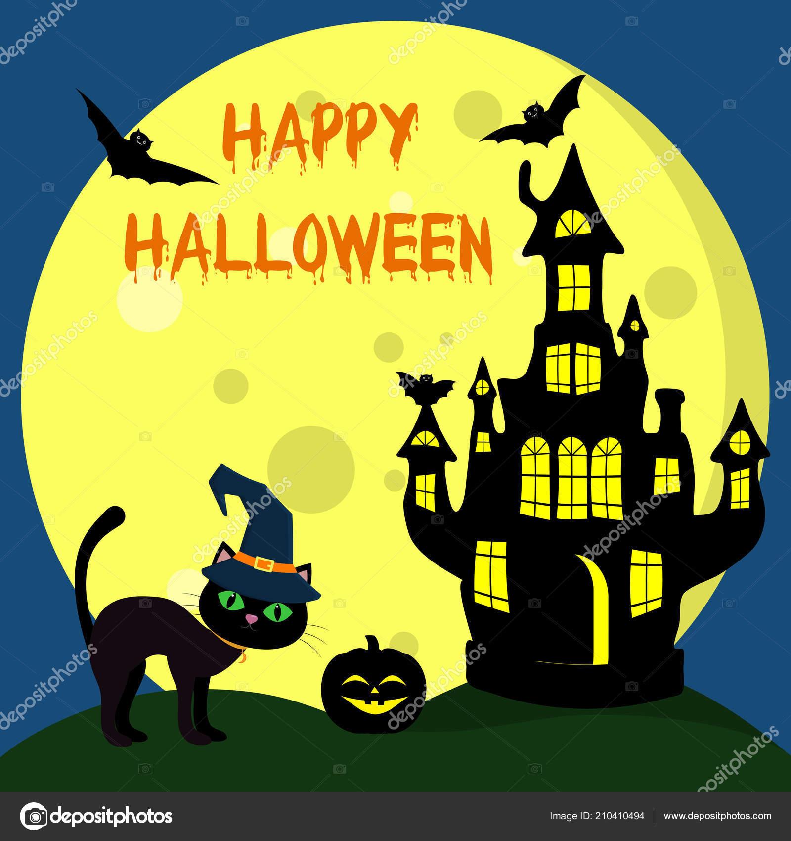 Gatto Halloween Con Cappello Strega Trova Accanto Alla Casa Witchs