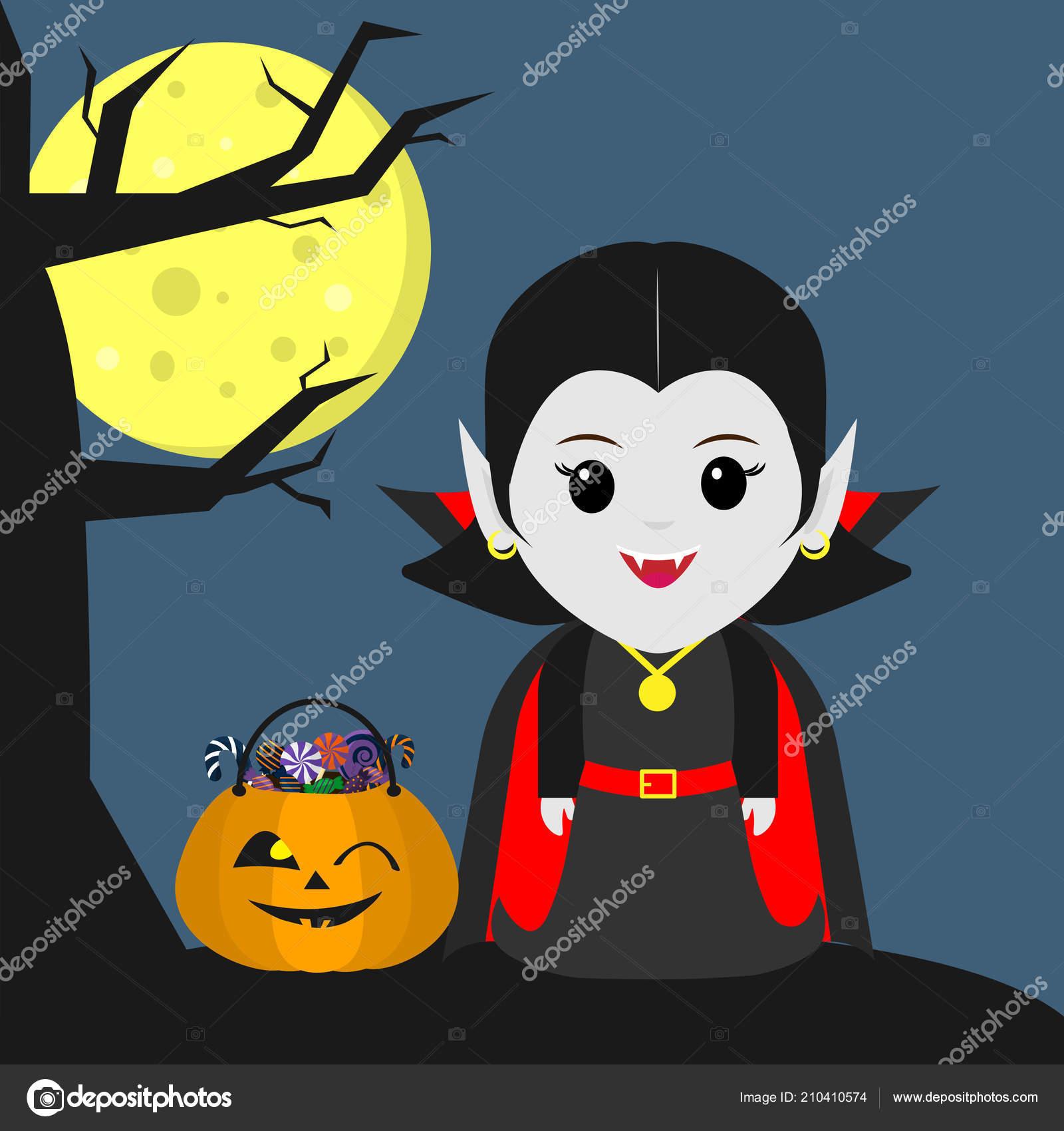 Felice halloween una ragazza vampiro nello stile cartone animato