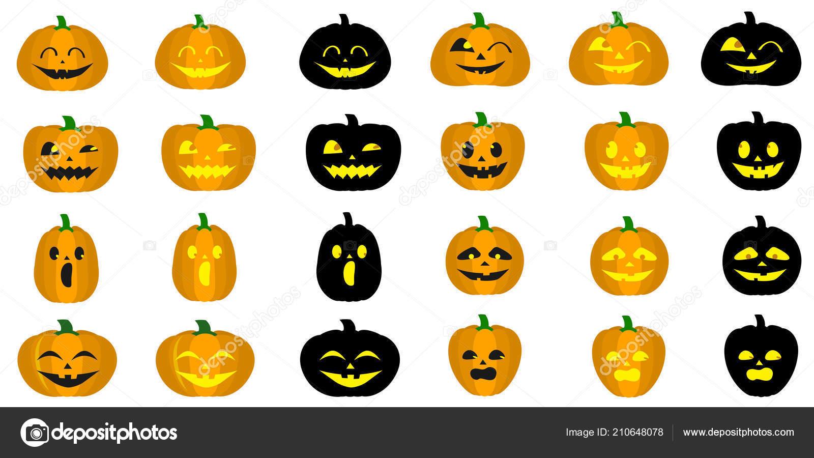 Zucche Di Halloween Cartoni Animati.Mega Set Differenti Zucche Halloween Facce Buffe Stile Cartone