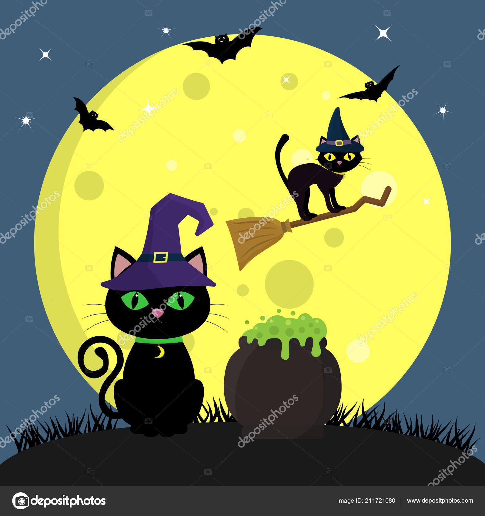 Il Gatto Di Halloween Con Il Cappello Di Witchs Si Siede Accanto Al