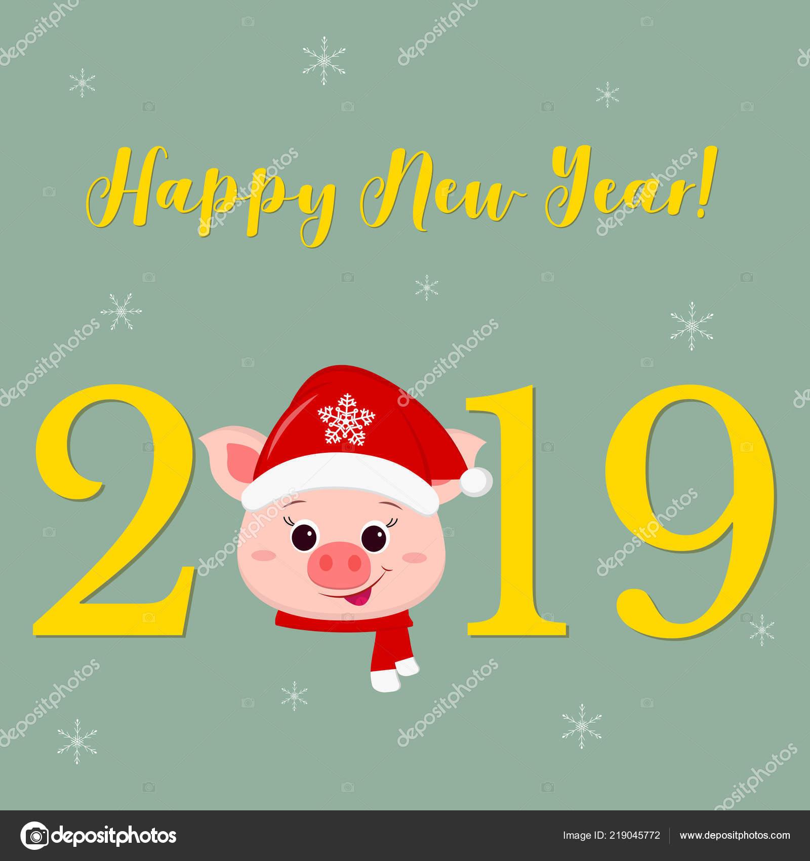 Frohes neues Jahr und Frohe Weihnachten Gruß Card niedlich ...