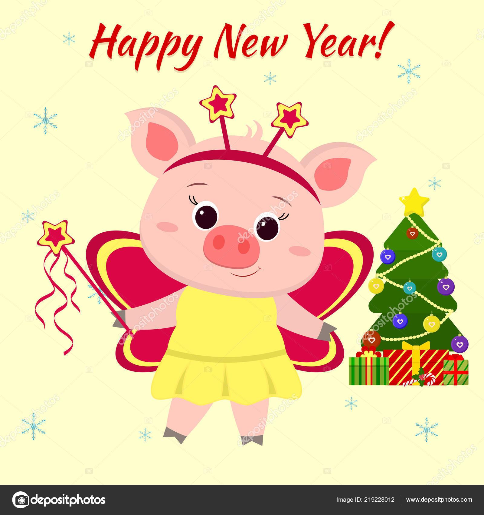 Glückliches Neujahr und Frohe Weihnachten Gruß Card niedliche kleine ...