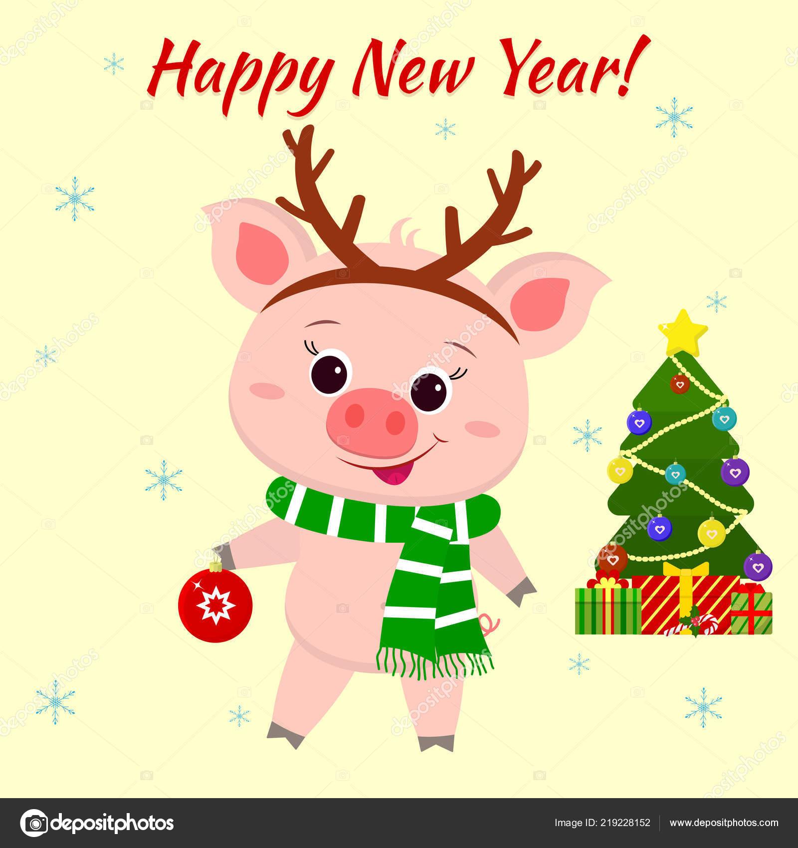 Frohe Weihnachten Katze.Frohes Neues Jahr Und Frohe Weihnachten Grußkarte Niedliche Katze