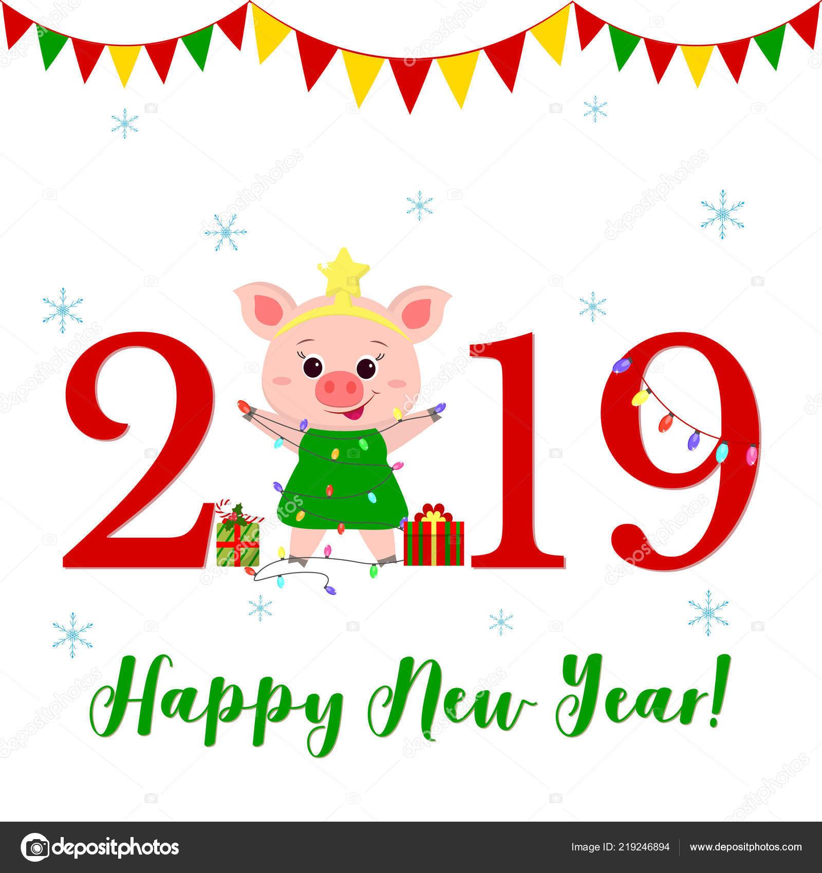 Auguri Di Buon Natale In Cinese.Felice Anno Nuovo E Auguri Di Buon Natale Un Maiale Sveglio In Un
