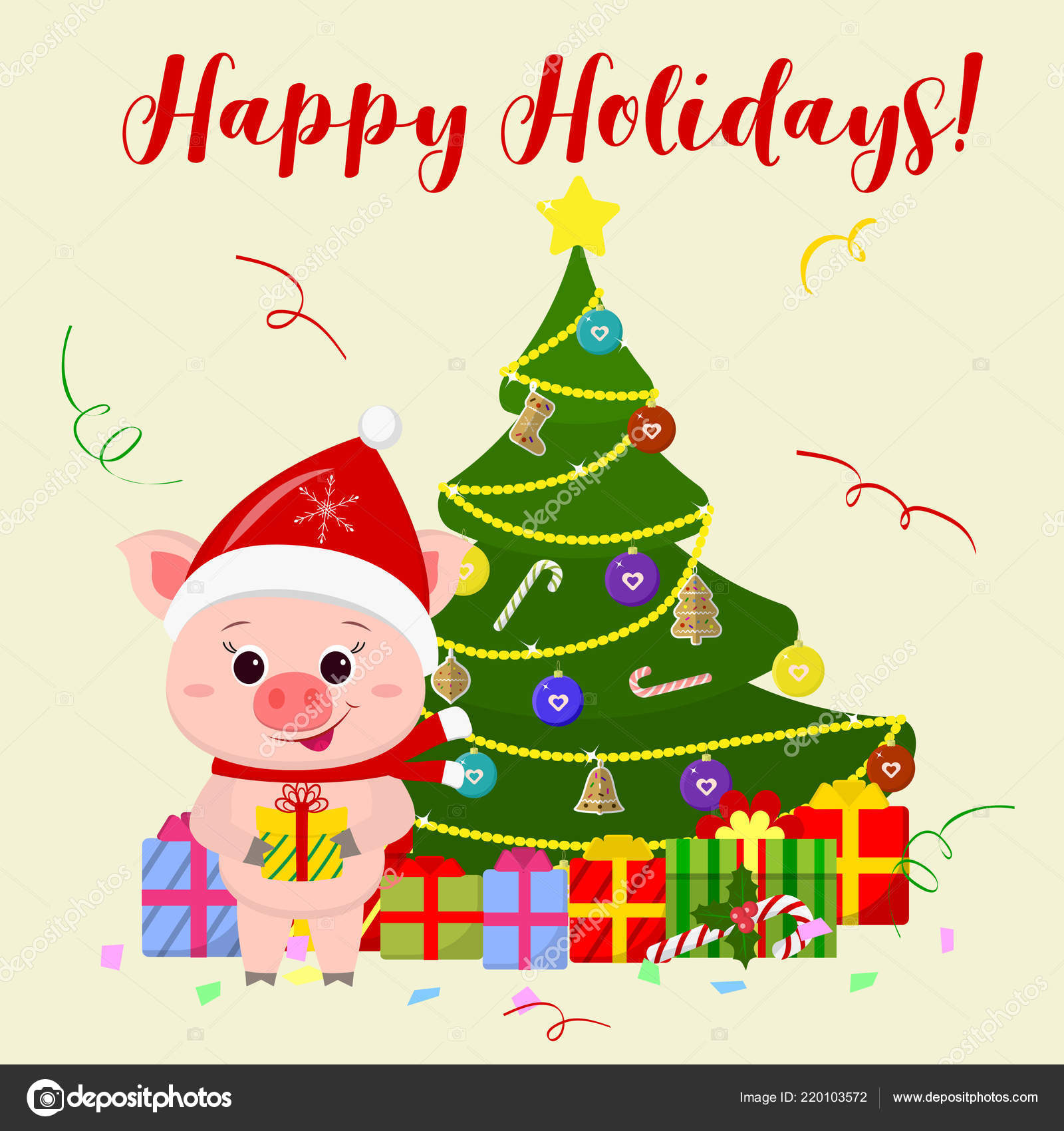 happy new year and merry christmas greeting card a cute pig wearing a santa claus hat and scarf is standing next to a tree and holding a gift