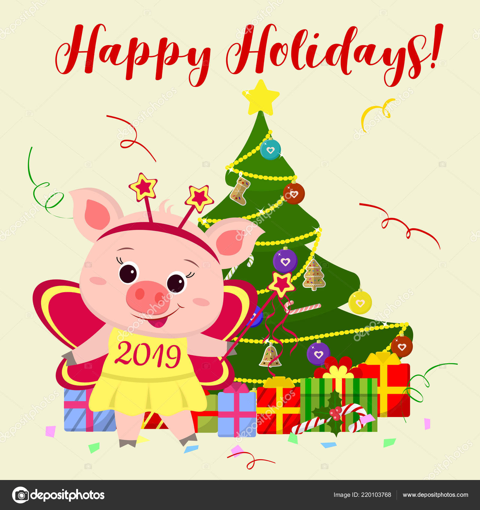 Happy New Year Merry Christmas Greeting Card Cute Pig Butterfly ...