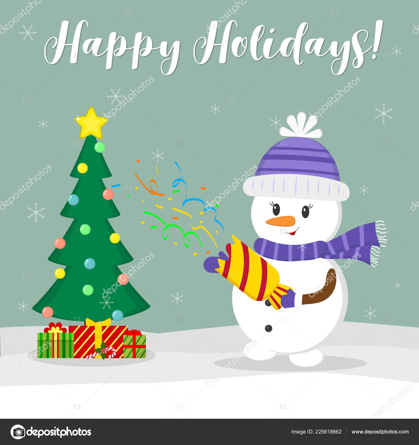 new year and christmas card cute snowman in a hat and scarf holding a cracker with confetti christmas tree ik orobki with gifts in winter against the