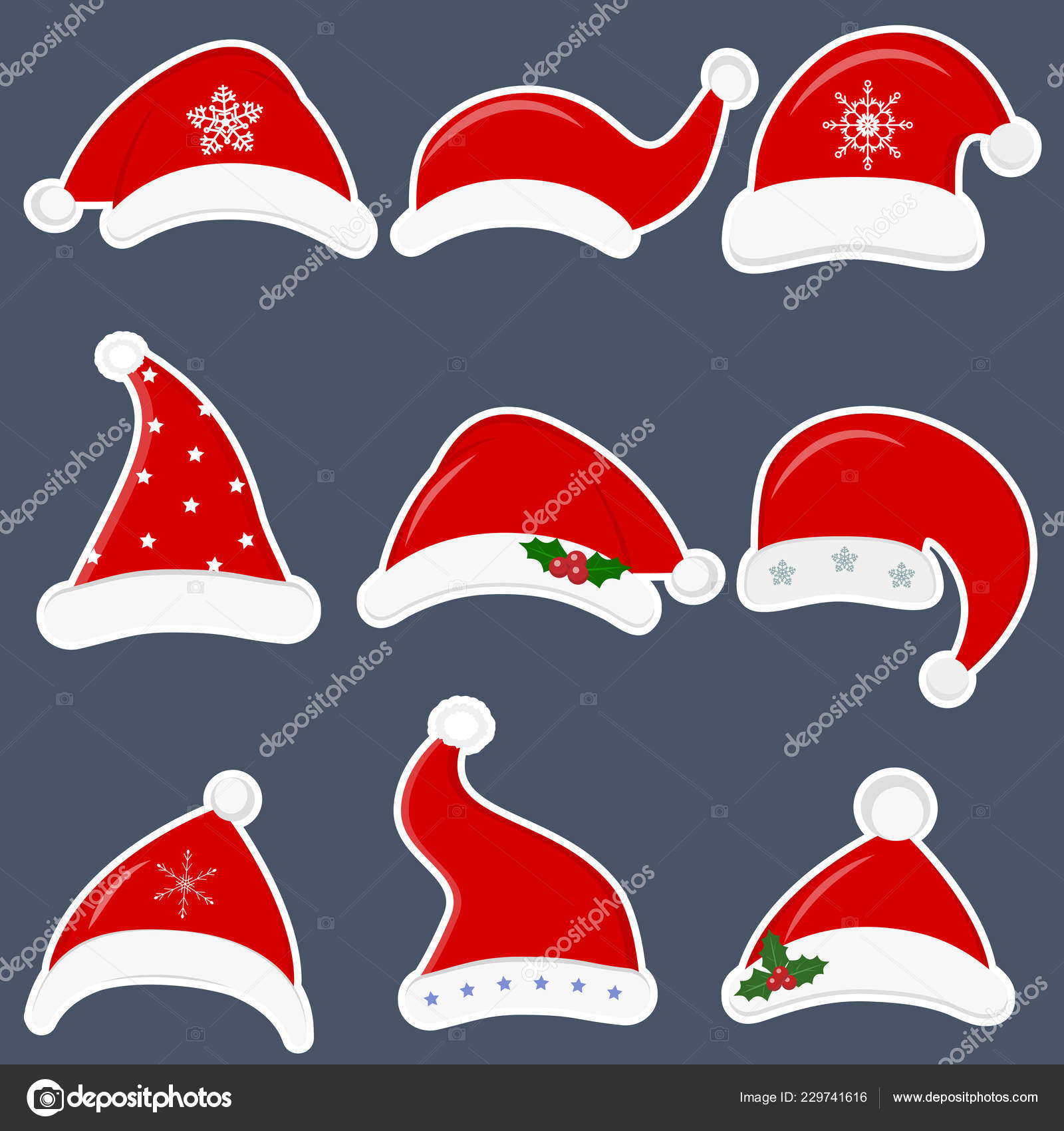 9cc0ebe670c81 Happy New Year and Merry Christmas. Set of nine different santa hats  stickers with various accessories isolated on dark background. Flat style
