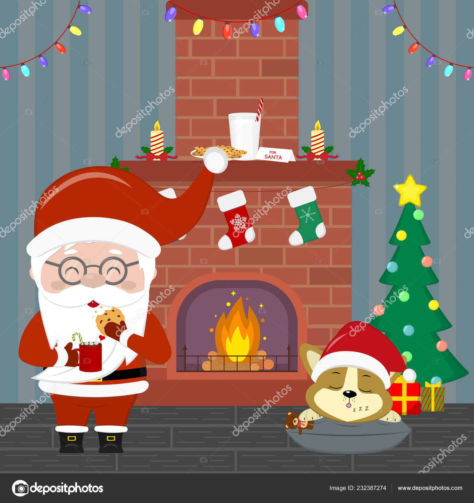 New Year and Christmas card  Santa Claus in glasses holds a