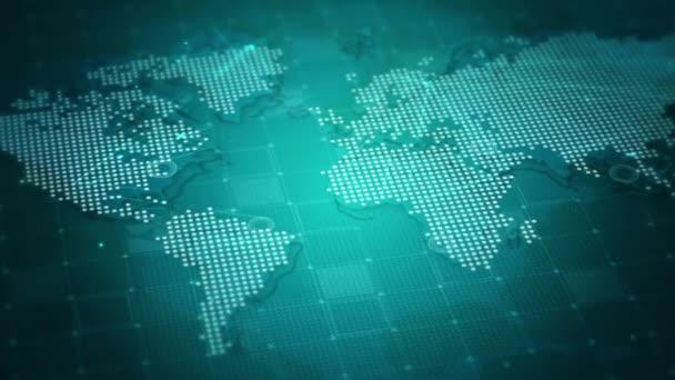 Digitale Cyber-Karte mit Punkten auf blauem Hintergrund.