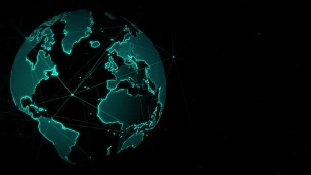 Sphärische Weltkarte animiert Linienhintergrund