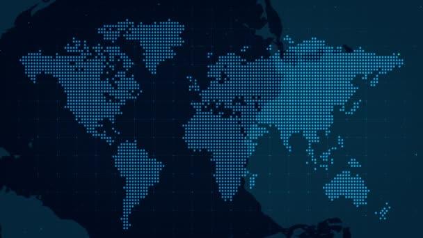 Dark World Map Dots Animate Corporate Background