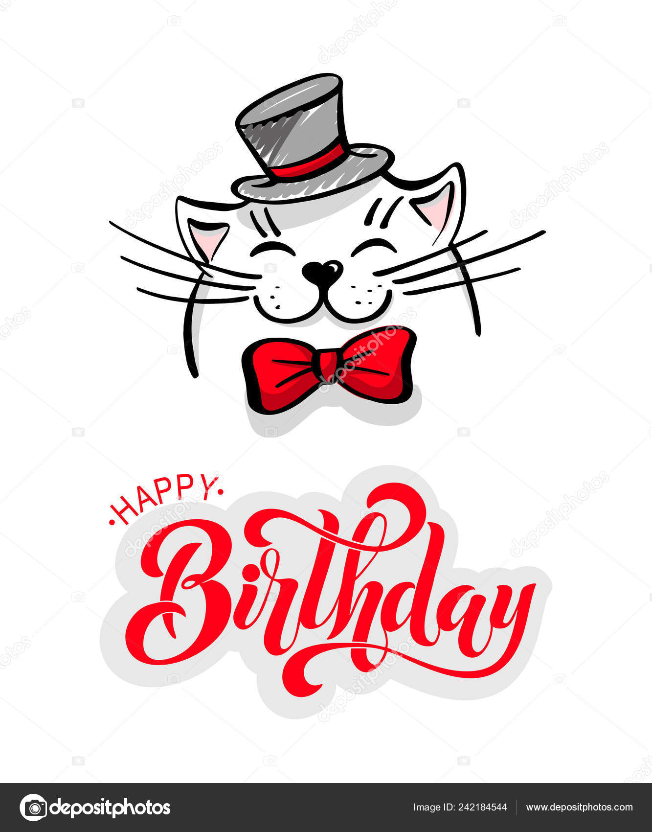 Kawaii Contented White Cat Hat Bow Tie Lettering Happy Birthday Stock Vector