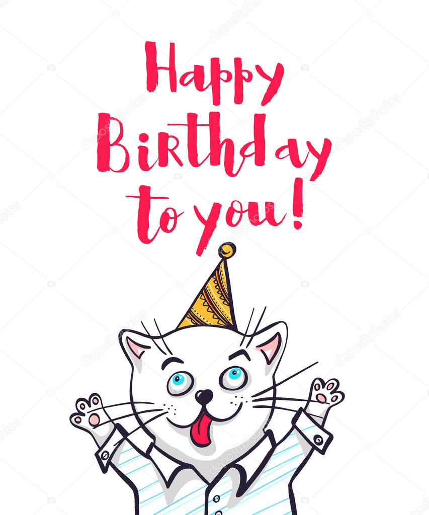 Kawaii, a cat in a shirt and cap. lettering happy birthday, vector illustration. Greeting card, drawing for your design.