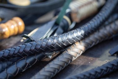 handles woven leather whips. texture of vintage instruments