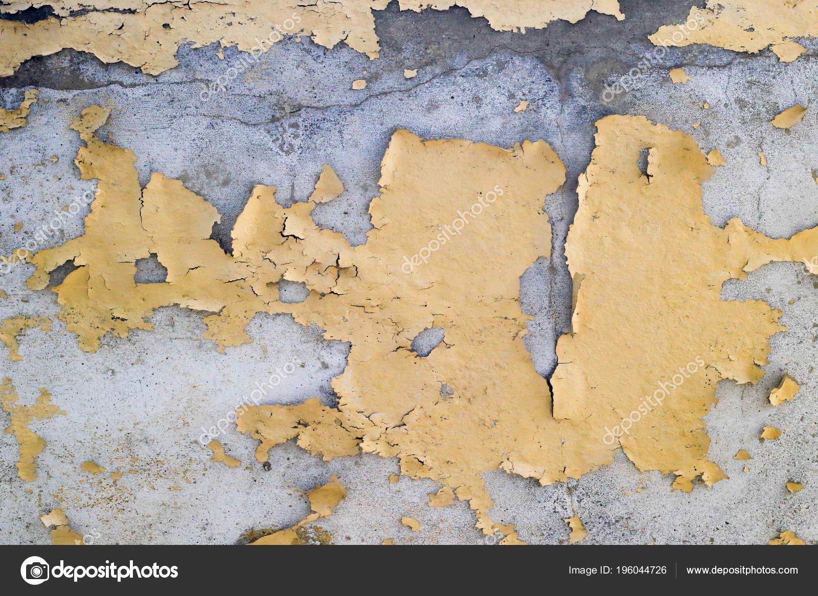 Ancienne Couleur Jaune écaillage Peinture Sur Mur Béton
