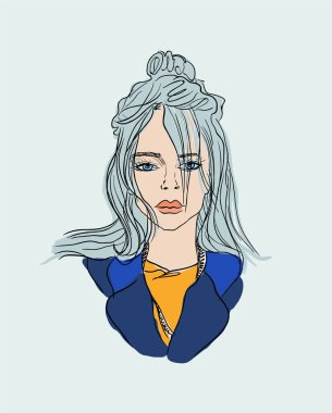 fashionable stylish girl singer billie eilish. vector fashion illustration.