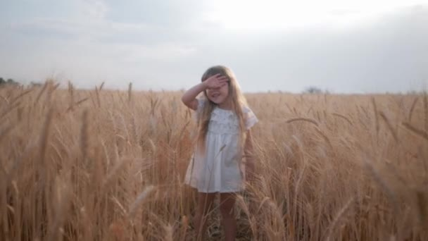 rural pretty cute a little girl in white dress tired of playing in a ripe wheat field among ears of grain