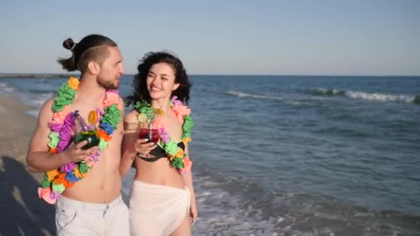 love people, girl and boyfriend romantic walk at summer rest , walking couple in love, guy holding girl by hand an exotic vacation,