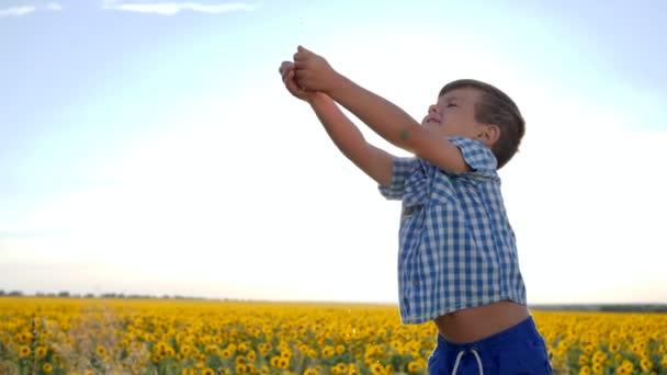 Kind wäscht seine Arme unter fließendem Wasser im Gegenlicht, Kind fängt klares Wasser in Zeitlupe, Junge fängt Hände