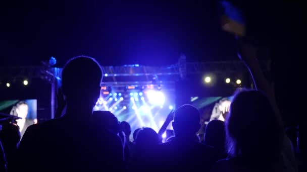 schöne Ukrainerin schwenkt Nationalflagge auf Konzert, Mädchen mit Fahne ukrainisch, Menschen auf Rockkonzert