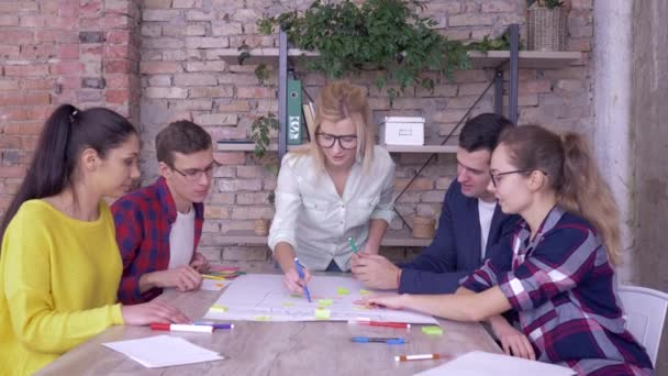 successful business deal, joyful office men and women giving thumbs up during winning work on new project on big paper with stickers in modern office
