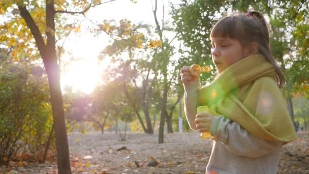 šťastný dítě hraje s mýdlové bubliny v parku na slunci v přírodě