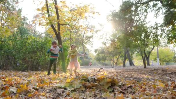 happy kids have fun on nature in backlight, throw yellow leaves into air in autumn park