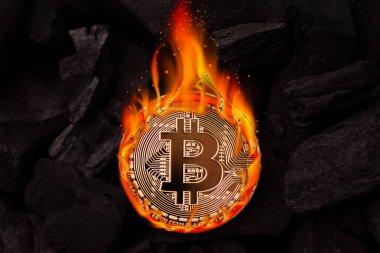 Yanan altın bitcoin sikke