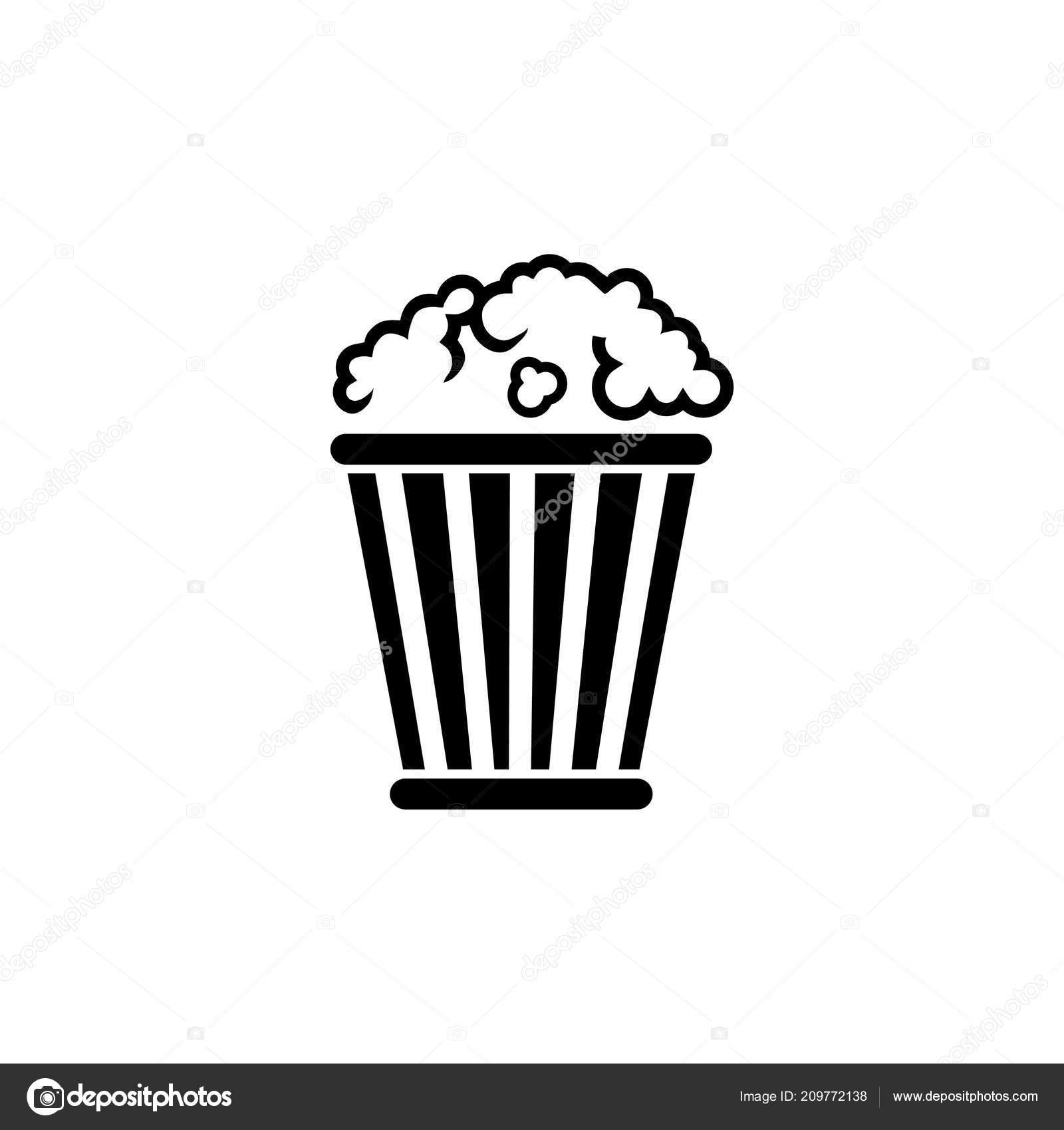popcorn bucket pop corn box flat vector icon image vectorielle