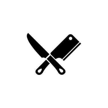 Meat Cutting Knives, Butcher Tools Flat Vector Icon