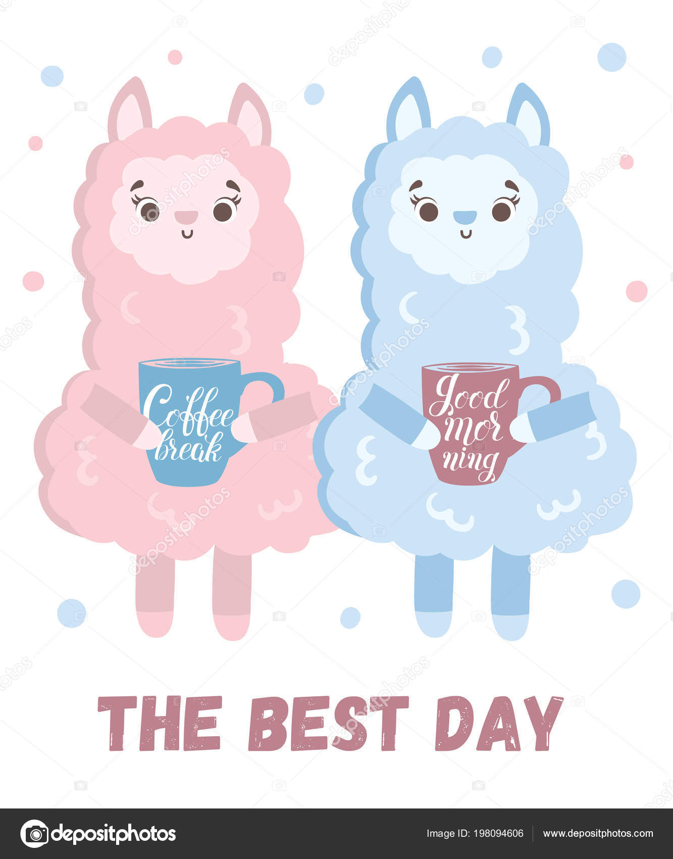 Vector Greeting Card Cute Llamas Coffee Poster Adorable Objects