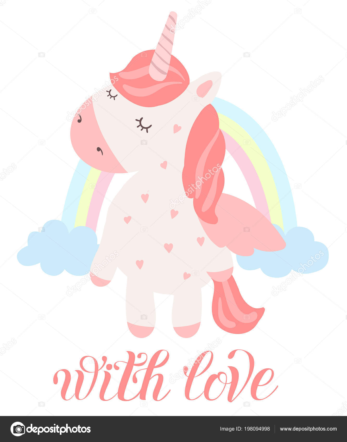 Poster With Adorable Magic Animal On Background, Pastel Colors Valentines
