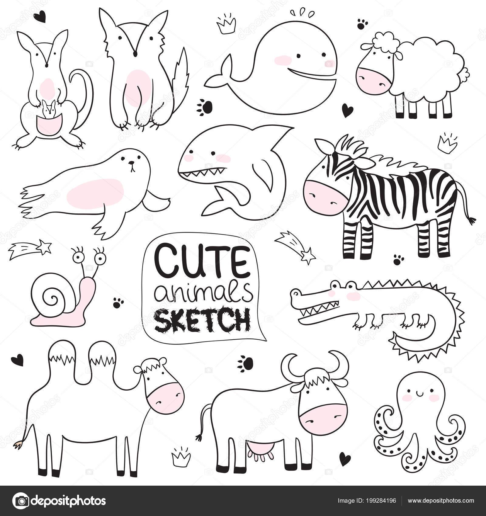 Vector Cartoon Sketch Illustration Cute Doodle Animals