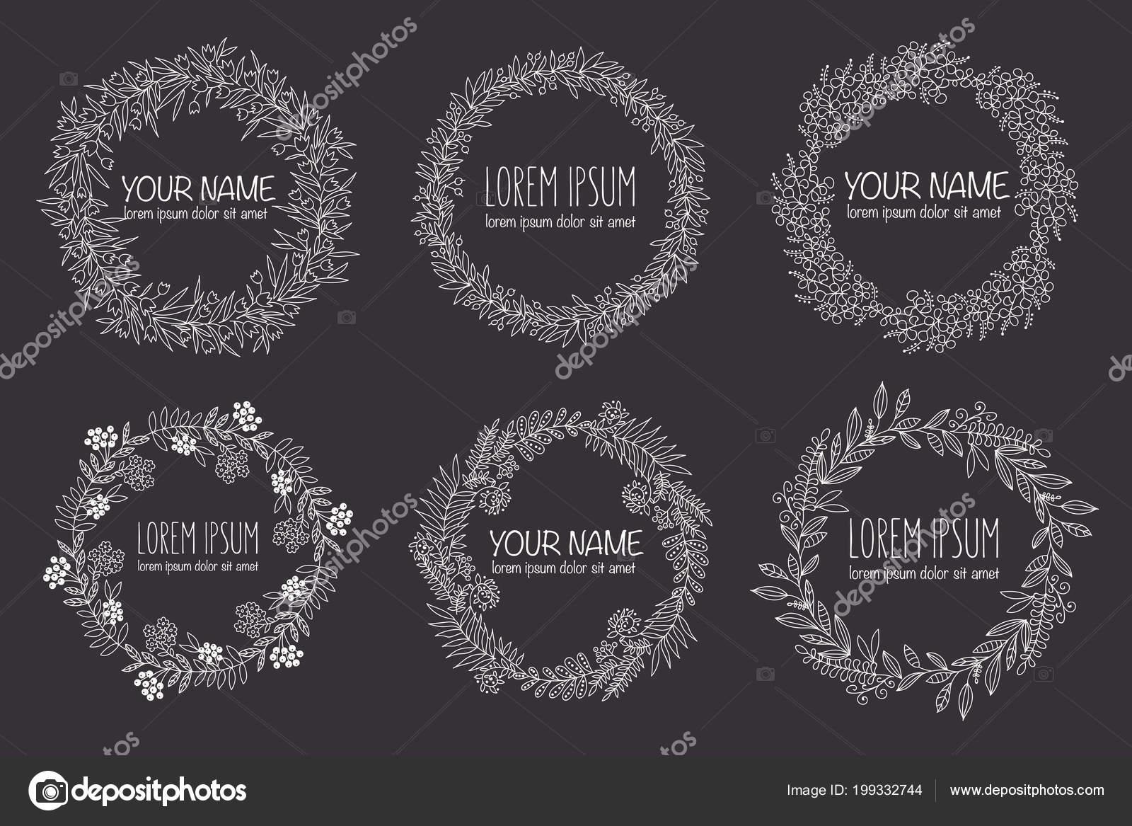 Vektor Auflistung Von Hand Gezeichnet Logo Vorlagen Hochzeit Familie