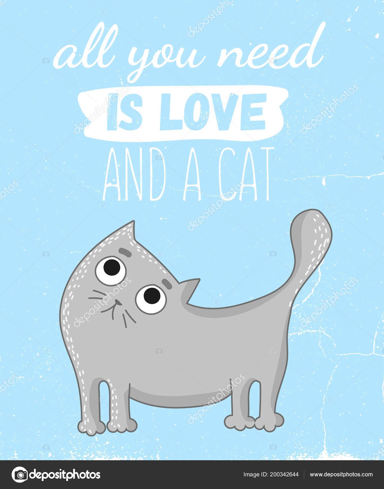 Ilustracion Dibujos Animados Vector Lindo Gato Con Letras Graciosas