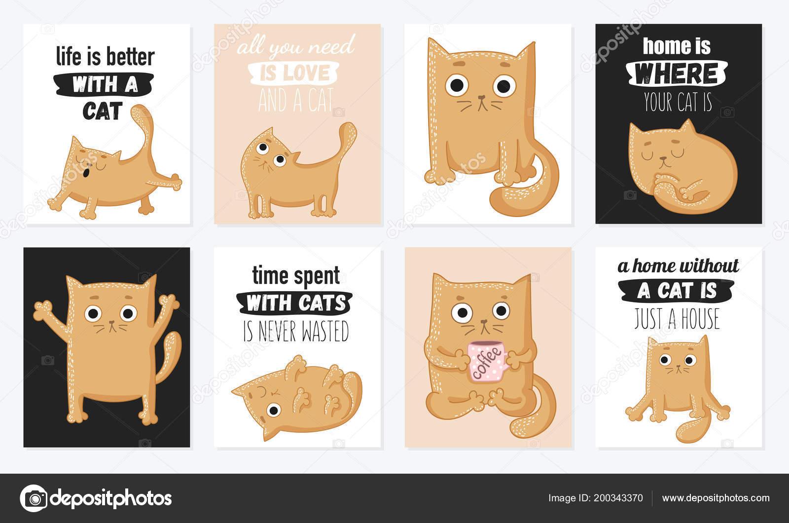 Conjunto Desenhos Animados Vetor Cartões Com Gatos Bonitos Letras