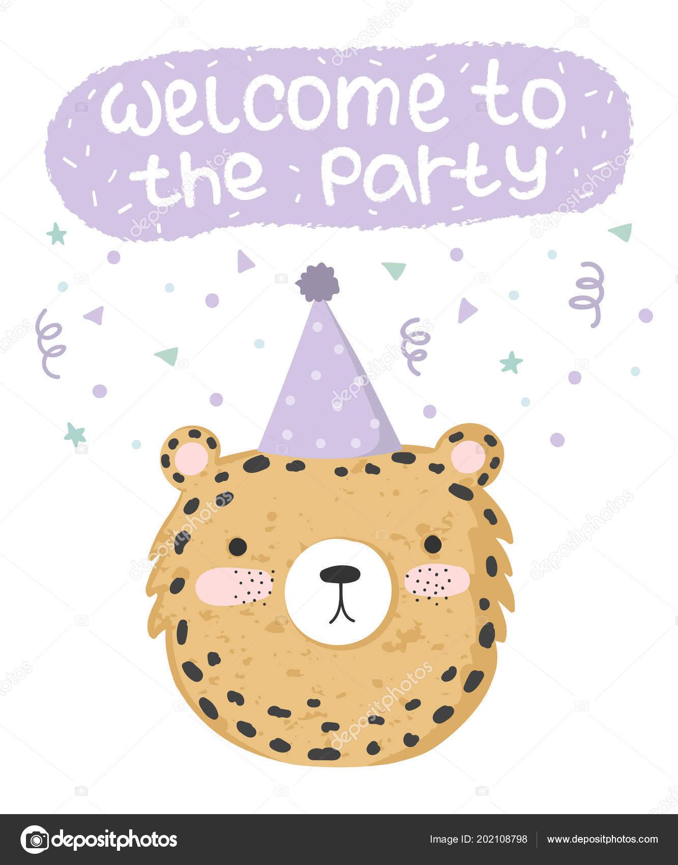 パーティとテキストでお祭りヒョウとベクトルのかわいいポスター