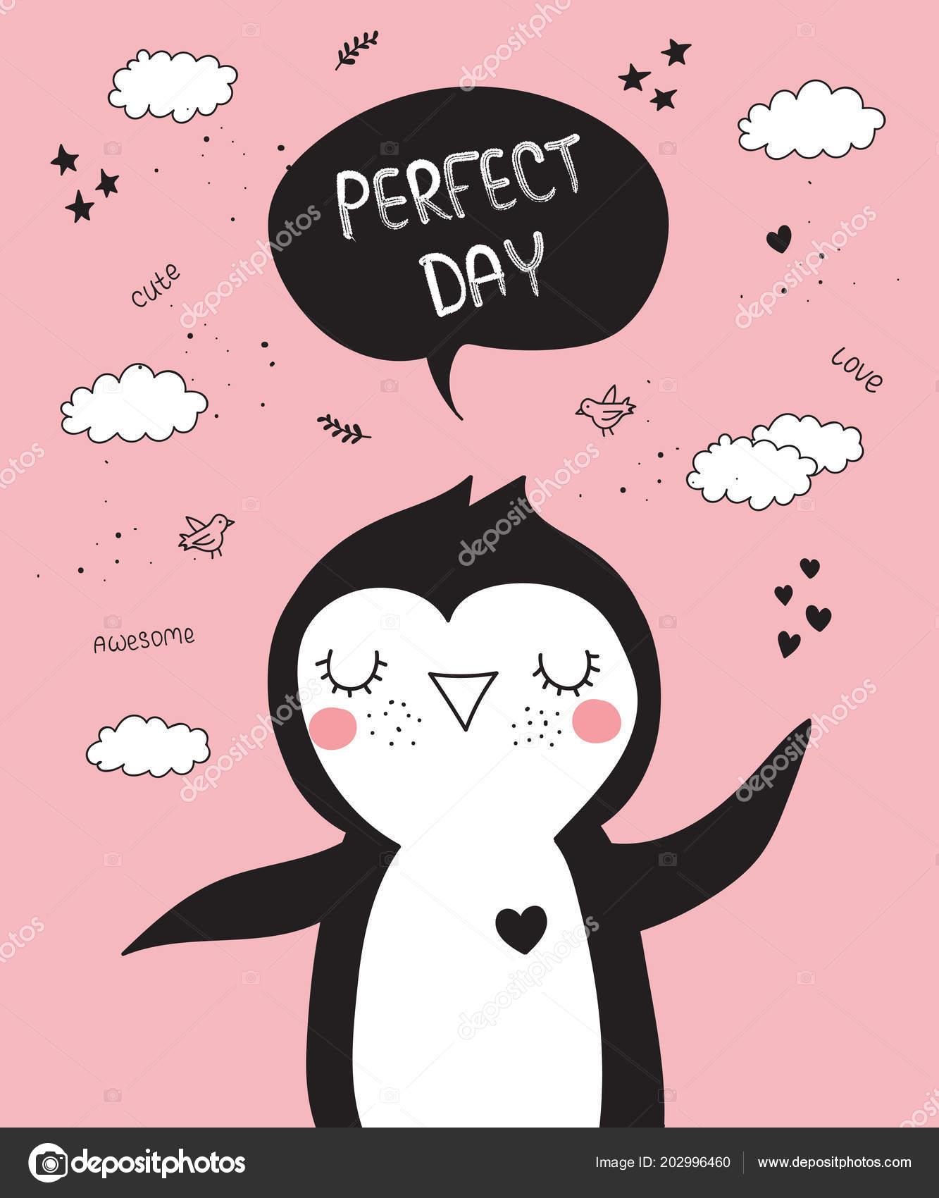 Póster Dibujos Animados Vector Con Doodle Lindo Pingüino Con