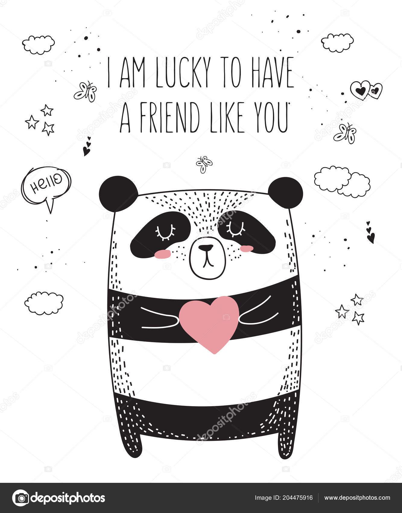 Vector Line Drawing Panda Slogan Friend Doodle Illustration